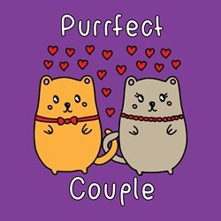 General wedding Valentines Day Civil Partnership Wedding Anniversary love cat kitten purrfect perfect pride personalised online greeting card