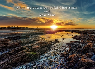 christmas year Christmas, Xmas, sunset, ballyholme, bangor, winter, warm, sea, coast, beach, peaceful, serene, tranquil, northern ireland personalised online greeting card