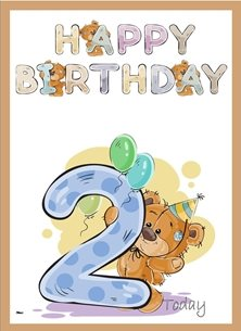 birthday children Teddy Bear Number 2 Hat Brown Purple Yellow Happy  personalised online greeting card