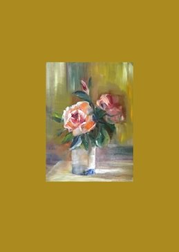 art flowers,roses,abstract,oils personalised online greeting card