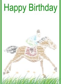 Birthday racing, horse jockey  personalised online greeting card