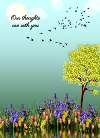 Sympathy Flowers Tree Birds Sun Clouds Blue Green Yellow Purple Black Pink Happy  personalised online greeting card