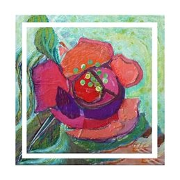 art flower, red rose, floral, painting, personalised online greeting card