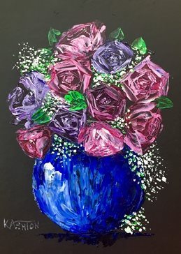 arty artistic  contemporary , roses, gypsophila, pinks, blues, purples, rose, still life, impasto, palette knife, original, flowers, floral, bright, colourful, cheerful personalised online greeting card