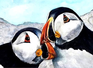 General photography Birds puffins wildlife for-him for-her black blue orange personalised online greeting card
