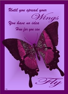 General Butterfly Purple Insparational personalised online greeting card