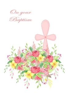 Christening Baptism Girl Cross Flowers Pink White Yellow Green for-children Wholesale personalised online greeting card