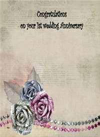 Her Nibs  1st Wedding Anniversary  Anniversary  Paper roses pink grey happy  personalised online greeting card