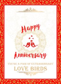 Frontloader Cards Anniversary Love Birds Anniversary  love birds z%a personalised online greeting card