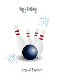 Birthday Bowling skittles ball white grey red  blue happy  brother z%a personalised online greeting card