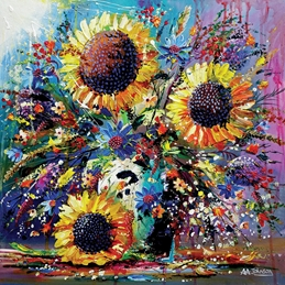 art sunflowers, art cards, impressionist paintings, gardens, still life, contemporary art, fine art, luxury cards, big flowers, sun, flowers in vase, grandma, mother, sister, birthday cards with flowers,  personalised online greeting card