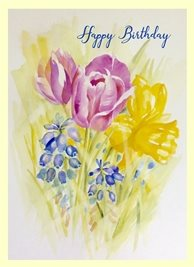 Birthday garden flowers personalised online greeting card