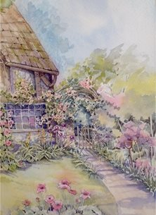 Sheila O'Brien Artwork Cottage garden art Gardens general personalised online greeting card