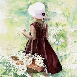 General girl, child, flower, wildflowers, basket of flowers personalised online greeting card