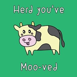 General Children Cow herd moving new home house bull farm kawaii animal zoo bright colours cute personalised online greeting card