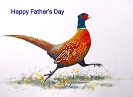 Fathers fathers pheasant bird wildlife red green orange personalised online greeting card