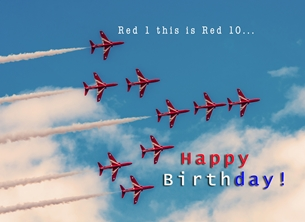 Birthday birthday, for-him,, for-children, red-arrows, jets, raf, aeroplane, airplane, plane personalised online greeting card