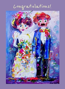 Andrew Alan Art Quirky Couple wedding Wedding day, wedding cards, marriage, congratulations, the happy couple, man and wife, bride and groom, weddings, Anniversaries, anniversary card, personalised online greeting card