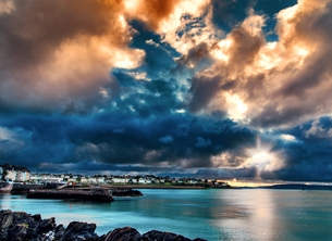 Photography andbc, Bangor, Belfast Lough, spring, summer, sunset, storm, sky, sea, coast, landscape, seascape, photograph personalised online greeting card
