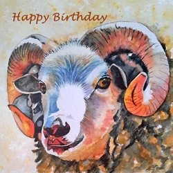 Birthday artwork sheep ram animal farm for-him for-her personalised online greeting card