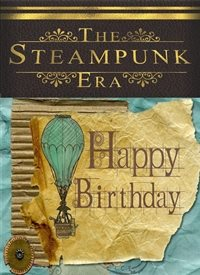 Birthday Steampunk Era Hot air Balloon blue brown gold happy  personalised online greeting card