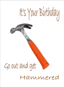 Birthday For Him Hammer Humorous Orange White Silver/Grey  personalised online greeting card
