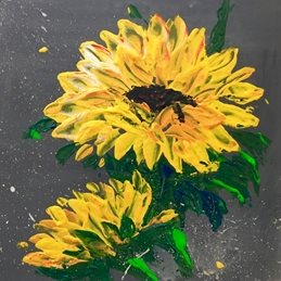arty artistic  contemporary  sunflowers, sunflower, yellow, grey, impasto, palette knife, flowers, floral, bright, colourful, cheerful personalised online greeting card