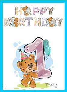 birthday children Teddy Bear Number 1 hat Brown Purple Blue Happy  personalised online greeting card