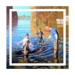 Photography family, holiday, seaside, beach, sea, harbour, painting, personalised online greeting card