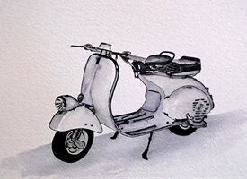General artwork Vespa scooter motorbike for-him personalised online greeting card