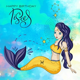 Little Bird Greetings Cards Happy Birthday Pisces Birthday BIRTHDAY PISCES zodiac personalised online greeting card