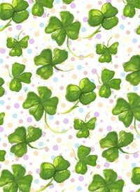Black Bunny Designs and Greetings Gettin' Lucky General irish, clovers, lucky, spring, festive, green, rainbow, poka dots, customizable, pattern, watercolor, hand-painted, handmade personalised online greeting card
