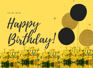 Her Nibs  Happy Birthday ~ Wife  Balloons, personalised online greeting card