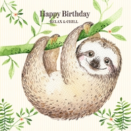 Birthday Sloth, Animal, Cute, For-Him, For-Her, Wildlife personalised online greeting card