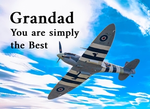 Fathers birthday Father's Day, grandad, grandfather, fathers, blank, card, birthday, -him, Spitfire, aeroplane, plane, RAF personalised online greeting card