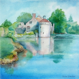 Art Scotney Castle, Kent, relfection, water, personalised online greeting card