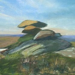 art Cornwall, Moor, Bodmin, Landscape, Cornish, Tor, Rocks z%a personalised online greeting card