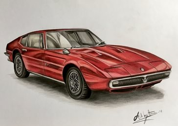 Art By Three  Ghibli ' 67 art for-him Cars Maserati vintage automobiles general blank all occasions for-him boyfriends dads uncles brothers birthday red ghibli fathers personalised online greeting card