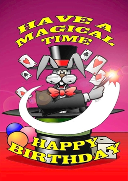 BIRTHDAY, HAPPY BIRTHDAY, MAGIC, MAGICIAN, RABBIT, CARTOON, FUN, FUNNY, WAND, MAGICAL personalised online greeting card