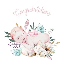 baby Girl, Boy, Floral congratulations personalised online greeting card