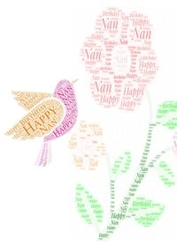 Birthday nan flower bird pink nature animals  personalised online greeting card