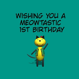 Birthday ^cat^,^fun^,^green^,^five^ personalised online greeting card