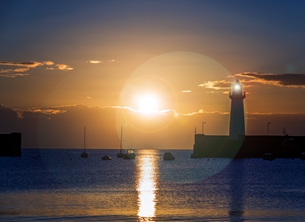 NorthLight Photo-Art Here Comes The Sun photography andbc, ^county down^, ^northern ireland^, ireland, sunrise, coast, sea, harbour, Ards, Bangor, Donaghadee personalised online greeting card