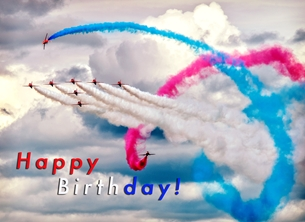 Birthday birthday, for-him, for-children, red-arrows, jets, aeroplane, airplane, raf, plane personalised online greeting card