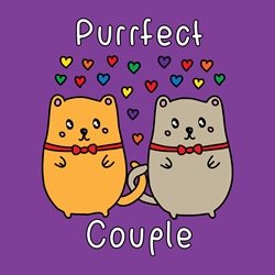 General Valentine's Day wedding anniversary civil partnership love gay pride cat kitten purrfect perfect pride lgbt same sex rainbow personalised online greeting card