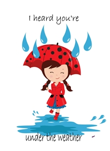 Well For Her For Children Girl Brolly Raindrops Puddle Red Blue Black  personalised online greeting card