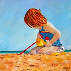 art artwork child  beach seaside for-children  personalised online greeting card