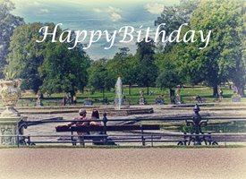 Birthday park, happy Birdday personalised online greeting card