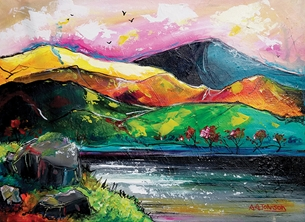 art the lake district, cumbria, english lakes, the lakes, cumbrian art, abstract art, landscapes, scenery, mountains, hills and lakes, water, english landscapes, nature, colourful cards, fine art, contemporary, modern art, fun, colour, for him, cards for him, personalised online greeting card