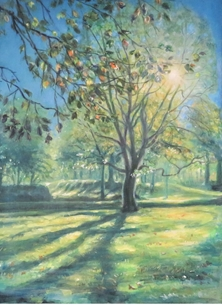 Little Liz Happy Art When the sun comes out Art trees, sunshine, landscape, grass, outdoors, green, for-her, for-him,  personalised online greeting card